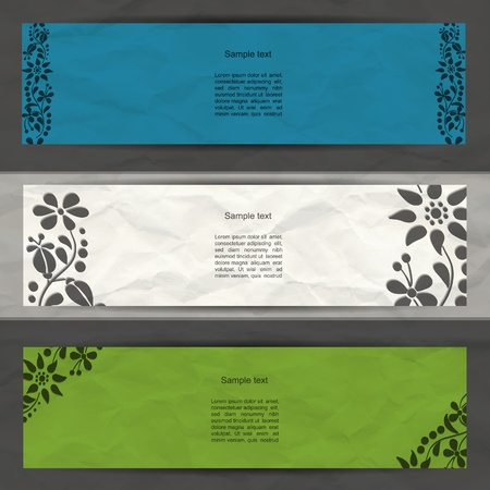 Colorful modern  banner set with flower spring pattern and grunge paper Illustration