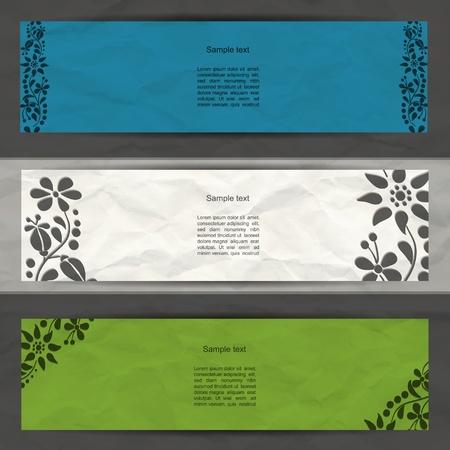 Colorful modern  banner set with flower spring pattern and grunge paper Illustration