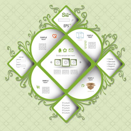 Creative green eco web design Vector