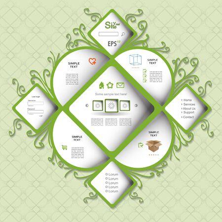 Creative green eco web design Vector