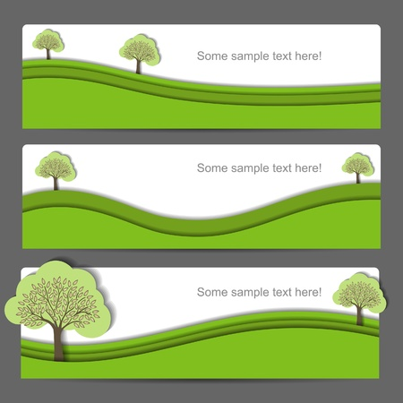 Modern creative  nature banner set with tree Illustration