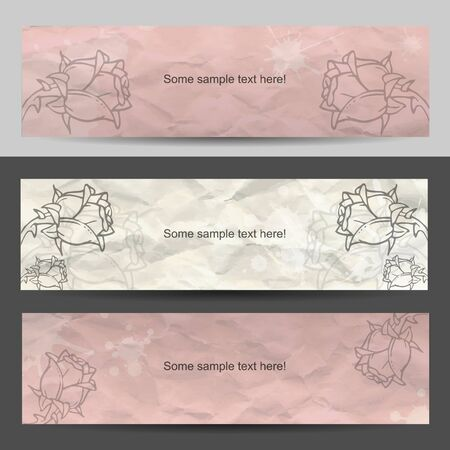 scroll shape: Modern sweeet banner set Illustration
