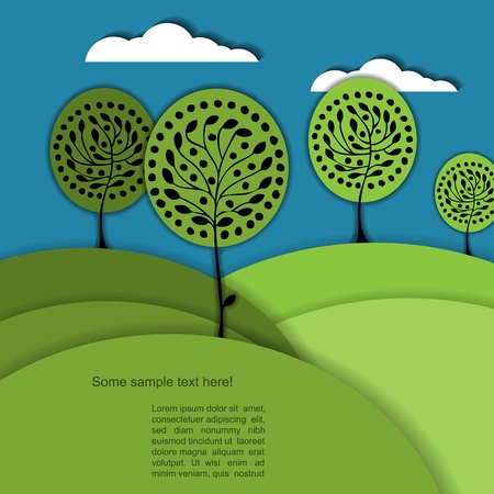 Nature modern  background with tree Vector