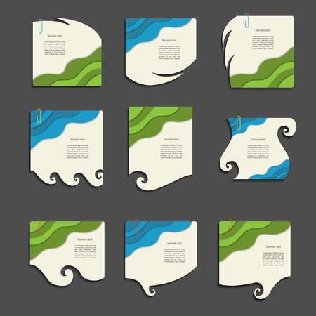 Modern  note set with wave Vector