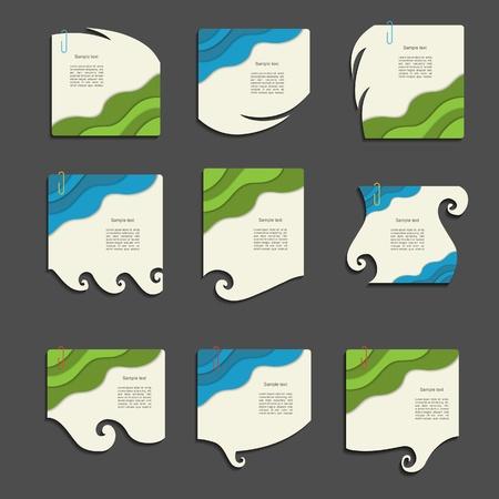 scribbling: Modern  note set with wave Illustration
