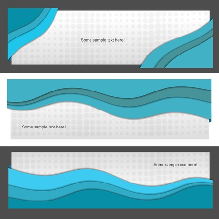 Blue vector banner set with wave Vector