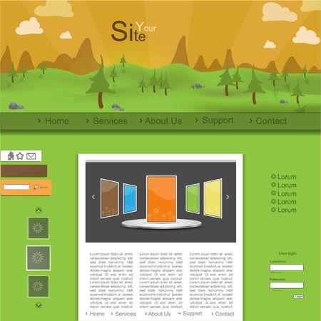 Modern nature website design Stock Vector - 13385112