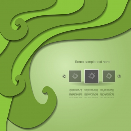 Green natural vector web design with portfolio