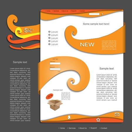 Orange vector website design Stock Vector - 13551045
