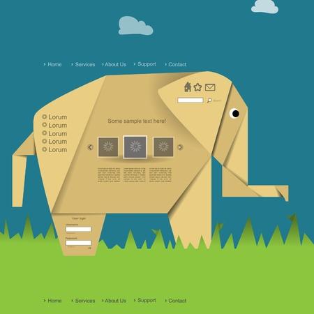 Nature modern creative origami elephant website design with portfolio Vector