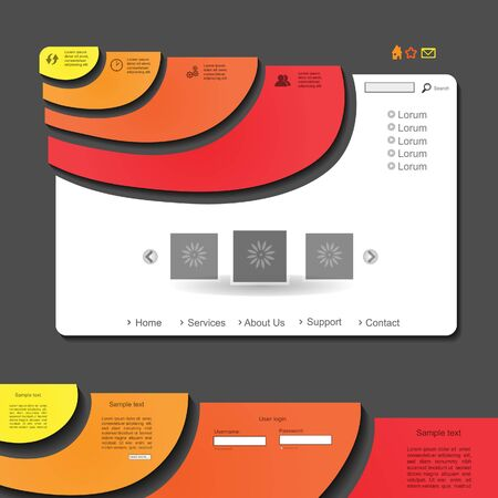 Colorful creative modern vector website design with portfolio  Vector