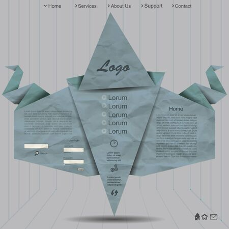 Creative website design with grunge paper