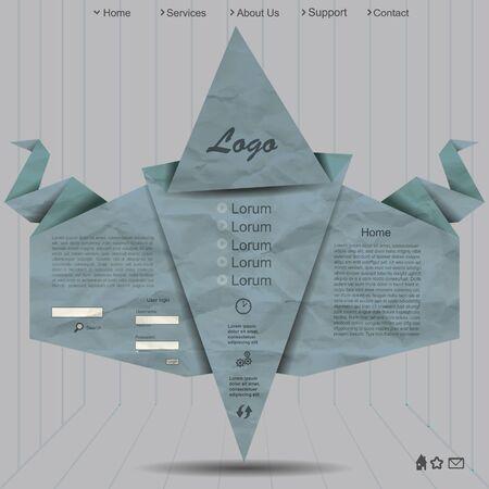 Creative website design with grunge paper Vector