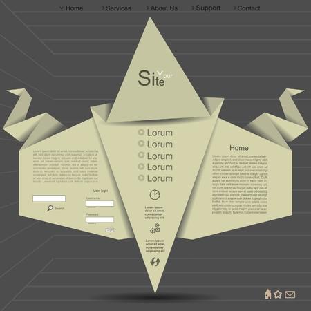 Origami paper creative website design Vector