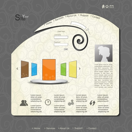Creative vector modern web design with portfolio Illustration