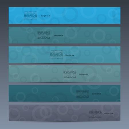 Blue modern  vector banner set with cyrcle mandala