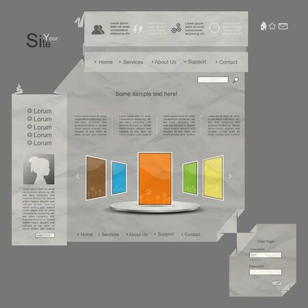 Grey 3d origami creative vector website design with grunge paper style Vector
