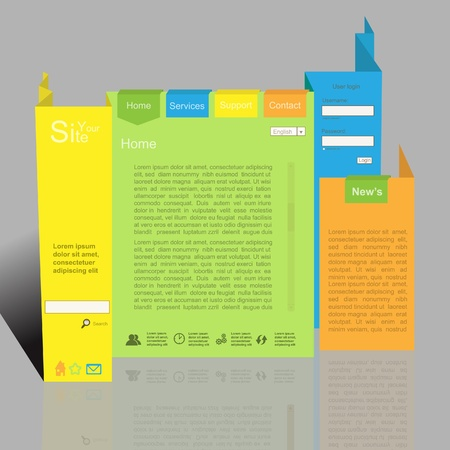 Colorful 3d creative vector website with origami style Vector