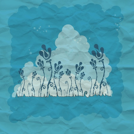 Blue flower art background with grunge paper