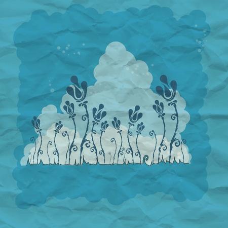 Blue flower art background with grunge paper