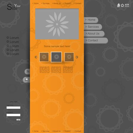Orange creative modern vector website with cyrcle pattern Vector