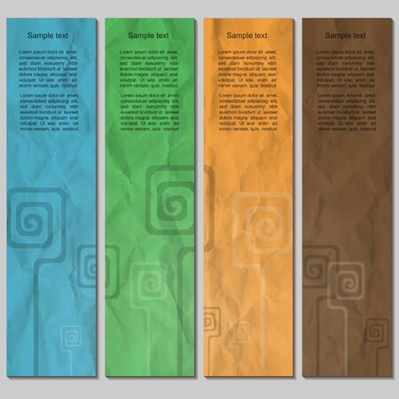 Colorful banner set with spiral