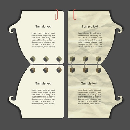 scribbling: Modern vector note set with grunge paper