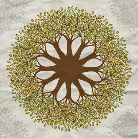 Vector tree mandala background with grunge paper Vector