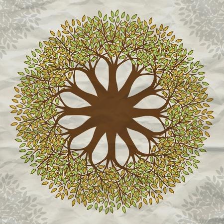 mandala: Vector tree mandala background with grunge paper Illustration