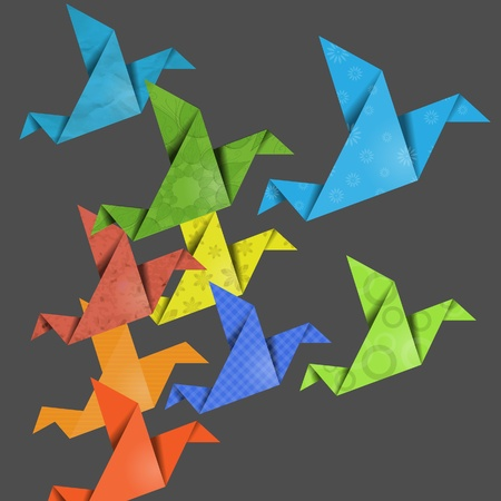 Colorful creative origami birds Vector