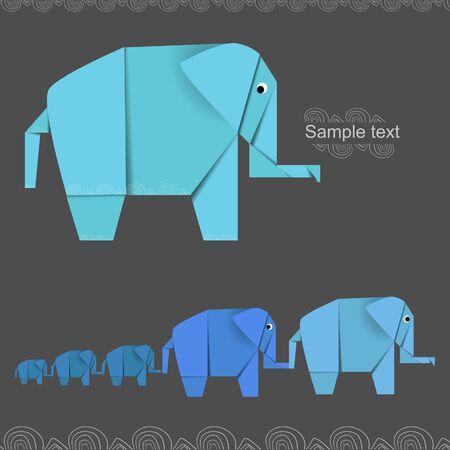Origami creative elephant banner vector Vector