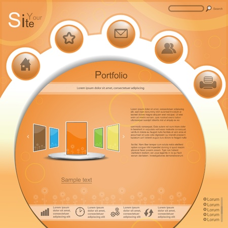 cyrcle: Orange creative cyrcle vector website with protfolio Illustration