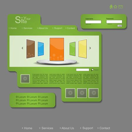 Green creative modern vector website with portfolio Vector