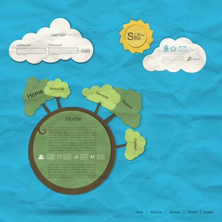 Colorful creative website vector with earth and tree