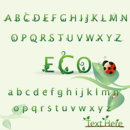 alfabeto con animales: La naturaleza creativa eco ABC personaje con las hojas y la mariquita