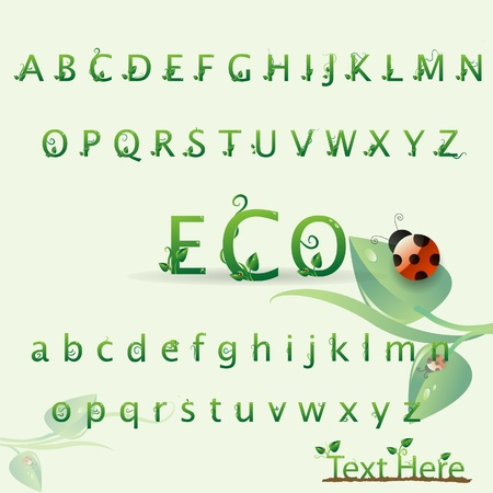3d alphabet letter abc: Nature eco creative abc character with leaf and ladybug