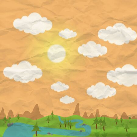 Nature background with clouds sun and tree Stock Vector - 13464952