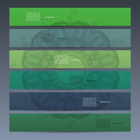 Green banner set with mandala Vector