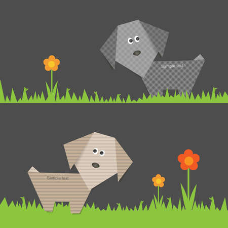 Origami banner set with dog and flower Vector