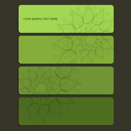green banner set wit spiral and mandala Vector