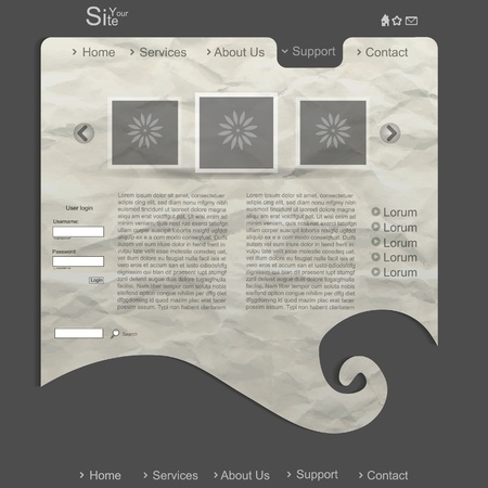 Creative modern website with grunge paper and spiral Vector