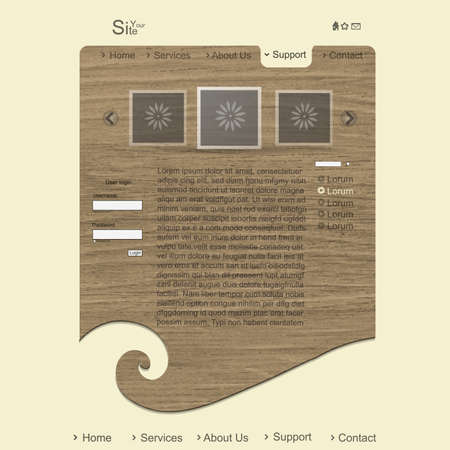 Creative modern website with wood texture Stock Vector - 13465282