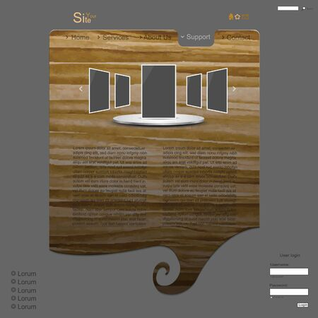 Nature brown creative modern website with wood texture and spiral Vector