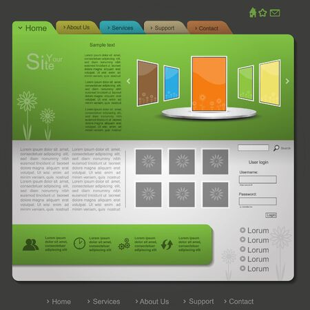 Green nature creative modern website with flower and folder design Vector