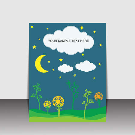 Night folder design with flower and moon Vector