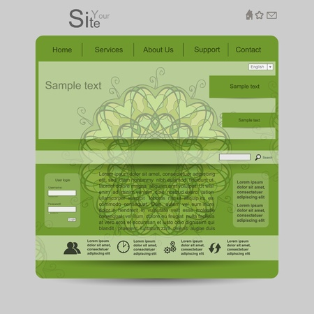 Green nature modern creative website with colorful mandala Vector