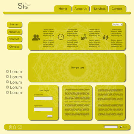 Yellow modern creative website with mandala Vector