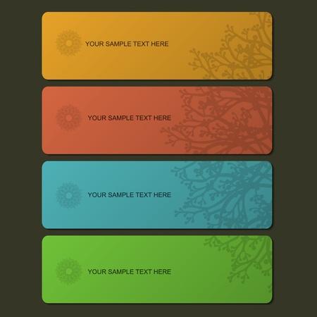 Colorful banner set with mandala