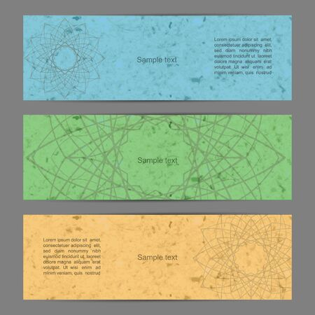 Colorful banner set with mandala and grunge paper