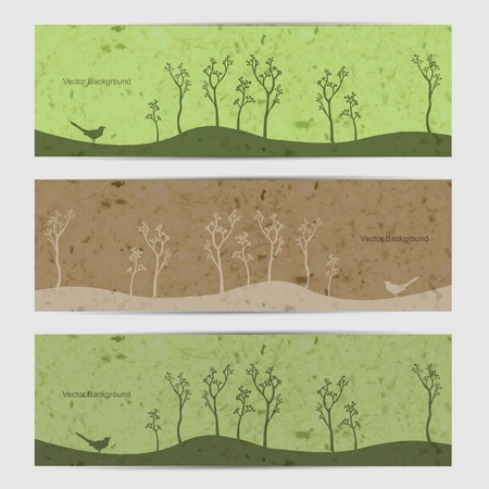 Green nature banner set with birds and tree Vector